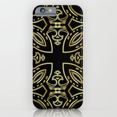 Black & Gold Boho Geometric Pattern iPhone 6s Slim Case
