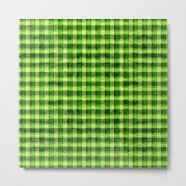 Lime Green and Yellow Gingham Faux Velvet Metal Print