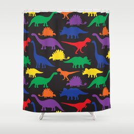 Dinosaurs - Black Shower Curtain