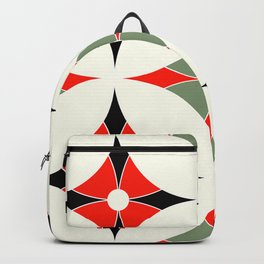 Mid-Century Mod Martini Olive Green, Ebony & Red Geometric Backpack