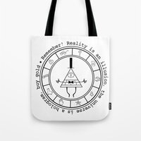 bill cipher Tote Bags featuring Bill Cipher - Light by Flora