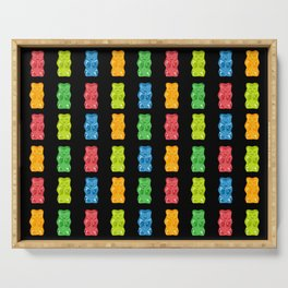 Rainbow Gummy Bears Pattern on Black Background Serving Tray