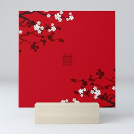 White Oriental Cherry Blossoms on Red and Chinese Wedding Double Happiness Mini Art Print