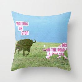 The vegan bull Throw Pillow