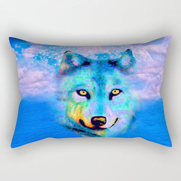 Wolf Moon and the Deep Blue Sea Rectangular Pillow
