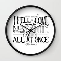 fault in our stars Wall Clocks featuring The Fault in our Stars by Chan Xing Yun