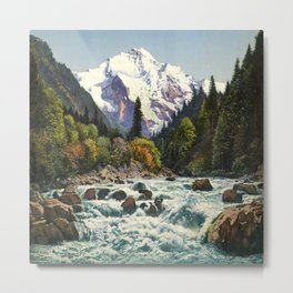 Mountains Forest Rocky River Metal Print