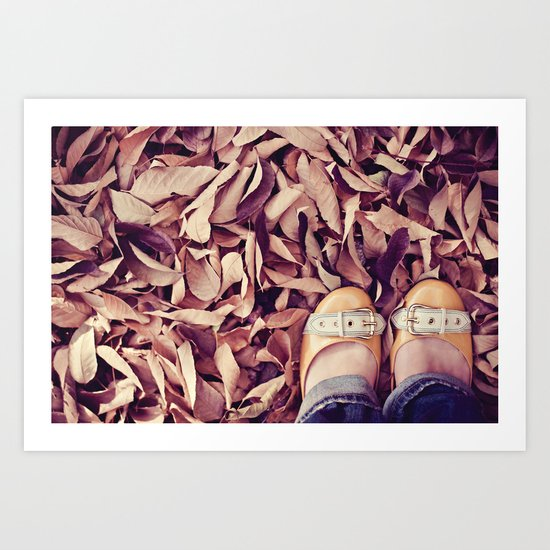 yellow shoes, fall leaves Art Print