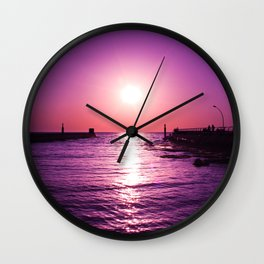 Surreal violet sunset Wall Clock