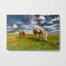 Windswept Horses Grazing Metal Print