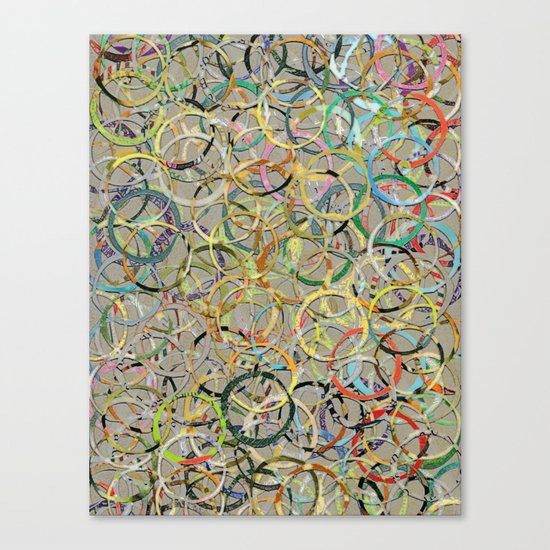 Rainbow Circles Collage Canvas Print