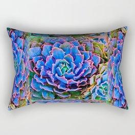 ORNATE BLUE-PINK SUCCULENT ART Rectangular Pillow
