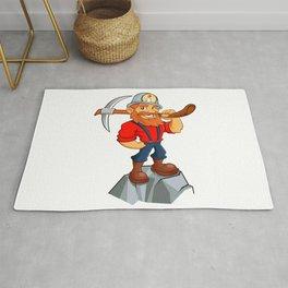Prospector cartoon,miner funny Rug