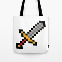 sword Tote Bags featuring Pixel Sword... by Totally Glitching