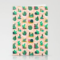 garden Stationery Cards featuring Terrariums - Cute little planters for succulents in repeat pattern by Andrea Lauren by Andrea Lauren Design