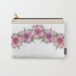 Vintage . Flowers pink Azaleas on a white background . Carry-All Pouch