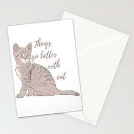Things go better with cat Stationery Cards