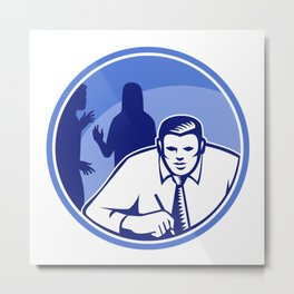 Office Worker Businessman Writing Woodcut Metal Print