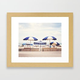 Beach Umbrella Photography, Blue White Brown Coastal Art, Beach Summer Photograph, Seashore Print Framed Art Print