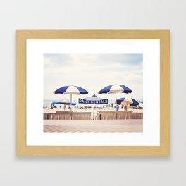 Beach Umbrella Photography, Blue White Brown Coastal Art, Beach Summer Photograph, Seashore Print Framed Art Print