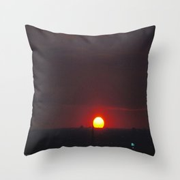 Great Ball of Fire: Chicago Sunset, Jan. 13, 2016 (Chicago Sunrise/Sunset Collection) Throw Pillow