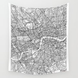 London Map White Wall Tapestry