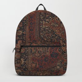 Boho Chic Dark I // 17th Century Colorful Medallion Red Blue Green Brown Ornate Accent Rug Pattern Backpack
