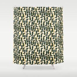 Hunter Green Wellington Welly Boots with Buttercup Flowers on Butter Yellow Streaky Stripes Shower Curtain