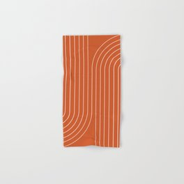 Minimal Line Curvature - Coral Red Hand & Bath Towel