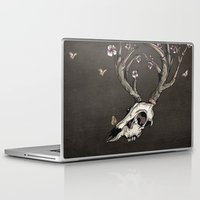 animal skull Laptop & iPad Skins featuring Animal Skull and Butterflies by Paula Belle Flores