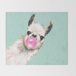 Bubble Gum Sneaky Llama in Green Throw Blanket