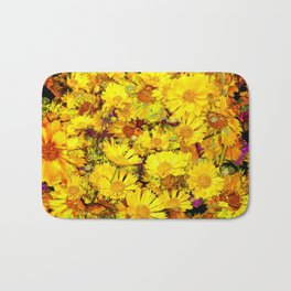 Rich Golden Yellow  Coreopsis Flowers Modern Art Bath Mat