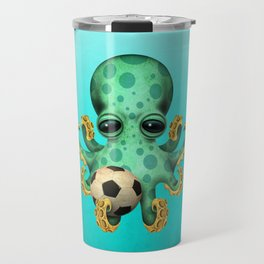 Cute Baby Octopus With Football Soccer Ball Travel Mug