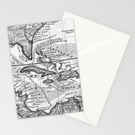 Vintage Map of the Caribbean (1732) BW Stationery Cards