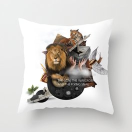 THE LION, THE WARDROBE AND THE FLYING SNAIL (Totem of the Lion) Throw Pillow