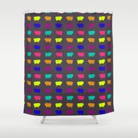 pigs Shower Curtains featuring Neon Pigs by Cara Rowlands