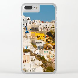 Colorful Seaside Santorini Island Homes Clear iPhone Case