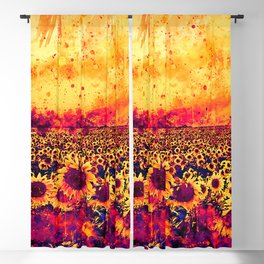 abstract sunflowers wslsh Blackout Curtain