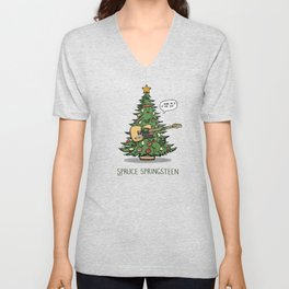 Spruce Springsteen - Funny Christmas Music Cartoon Pun Unisex V-Neck