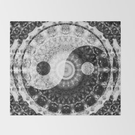 Ideal Balance Black And White Yin and Yang by Sharon Cummings Throw Blanket