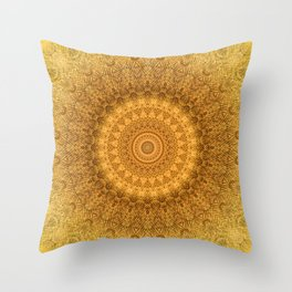 Sunflower Feather Bohemian Sun Ray Pattern \\ Aesthetic Vintage \\ Yellow Orange Color Scheme Throw Pillow