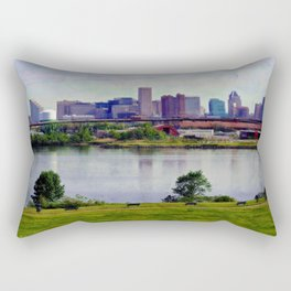 Baltimore Skyline from Middle Branch Park, Baltimore Art, Urban Art, Maryland  Rectangular Pillow