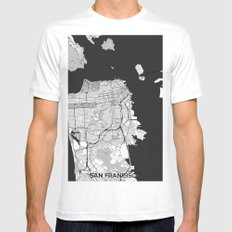 San Francisco Map Gray White Mens Fitted Tee MEDIUM