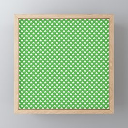 White Heart-Shaped Clover on Green St. Patrick's Day Framed Mini Art Print