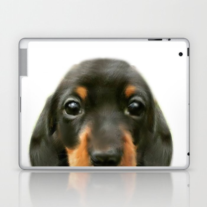 Dachshund baby Dog illustration original painting print Laptop & iPad Skin