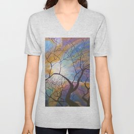 Space Tree Galaxy Painting Orion's Nebula Original Art (Dust in the Wind) Unisex V-Neck