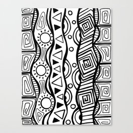Four Waves - Freestyle Tribal Doodle Design Canvas Print