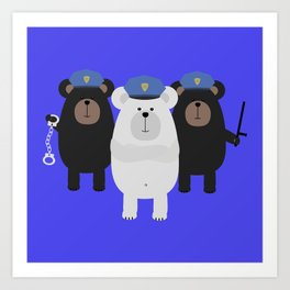Grizzly Police Officer Art Print