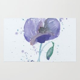 Blue Poppy flower illustration painting in watercolor Rug
