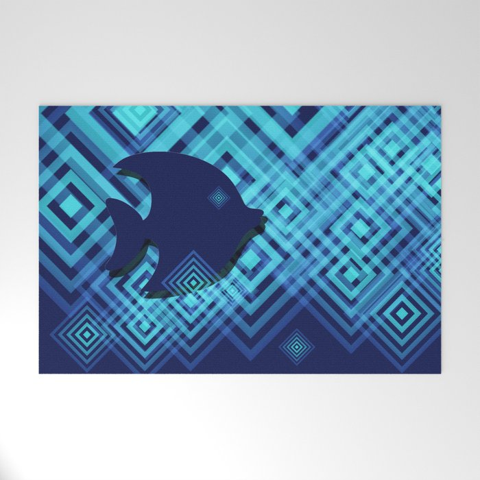 Blue Fish Angel Anglers Angles Welcome Mat